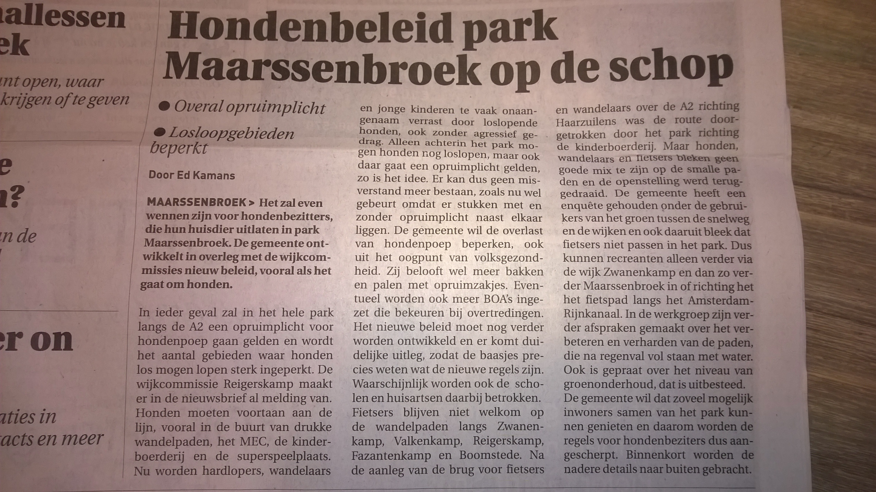 Lokaal Liberaal dient schriftelijke vragen in over Wijkpark Maarssenbroek
