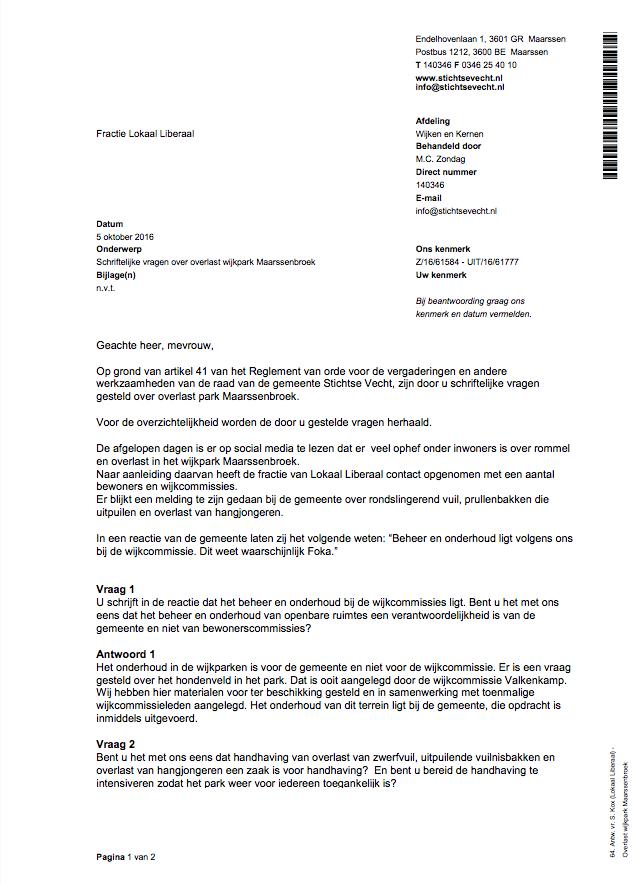 Schriftelijke vragen overlast wijkpark Maarssenbroek
